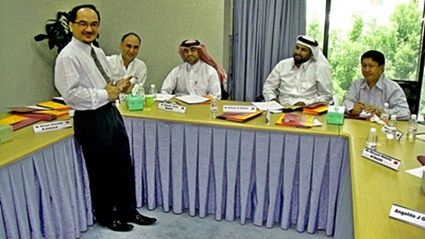 Taidin Suhaimin conducting a Stress Management Training Programme at The Regional Training Centre for Public Administration Asia-Middle East Dialogue, based at the Institute of Administrative Development (IAD) in Doha, Qatar, 25-28 May 2009.